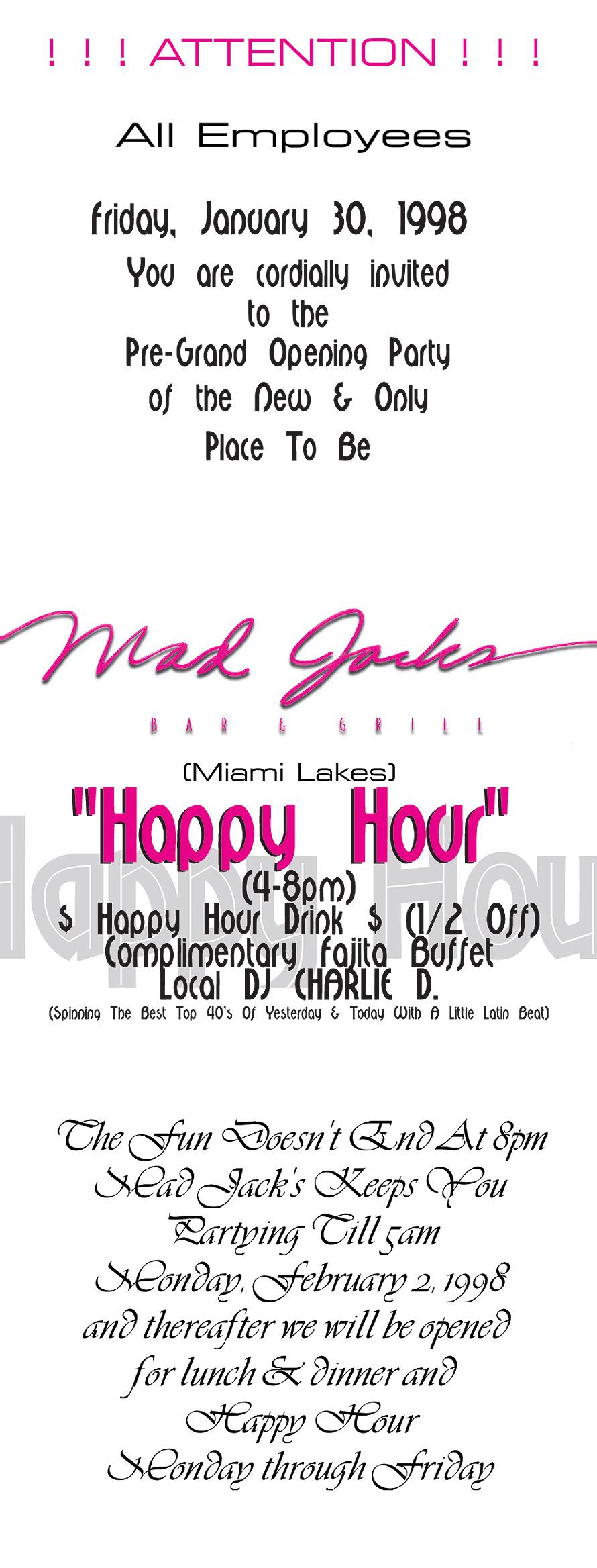 Mad Jacks Happy Hour