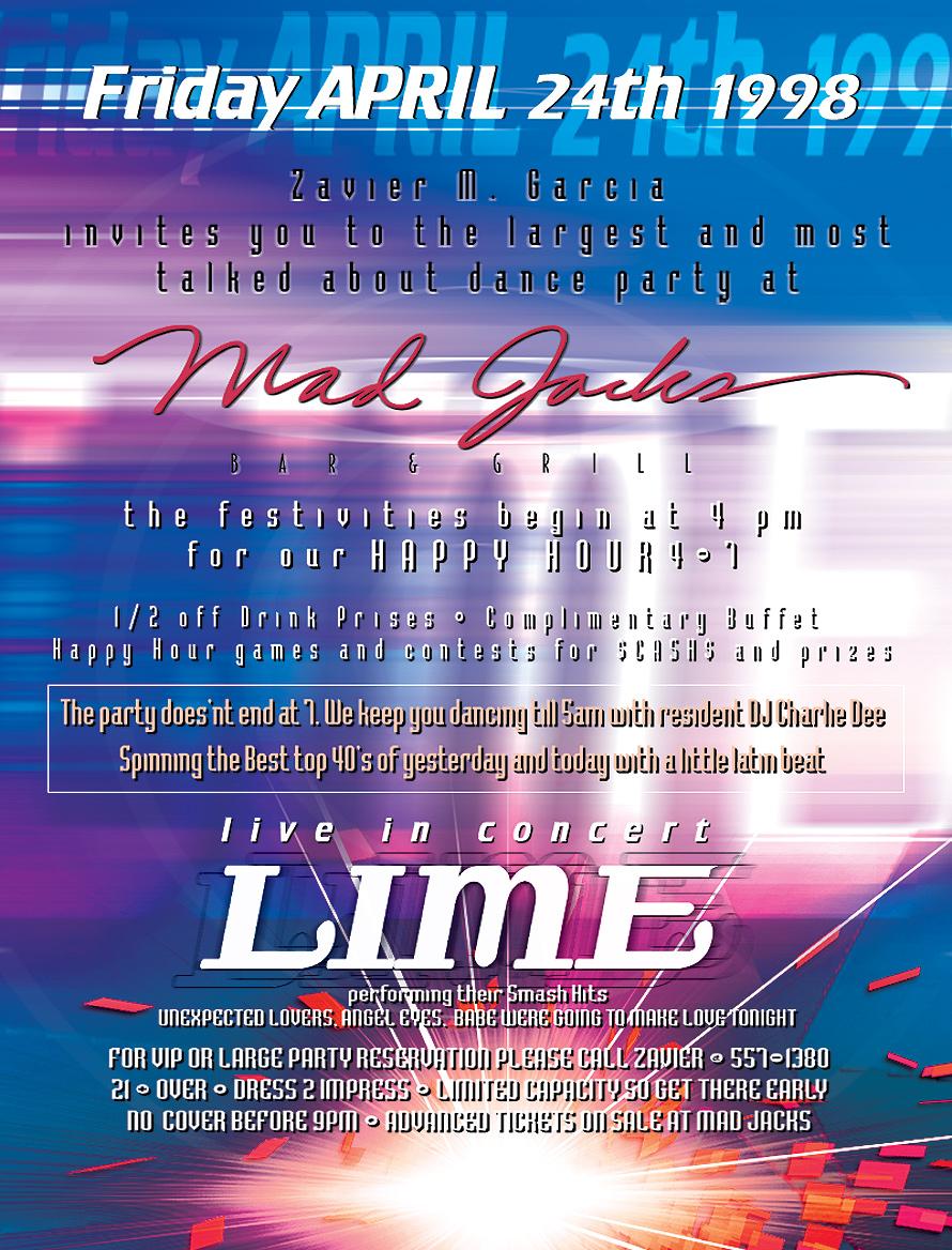 Live in Concert Lime at Mad Jacks