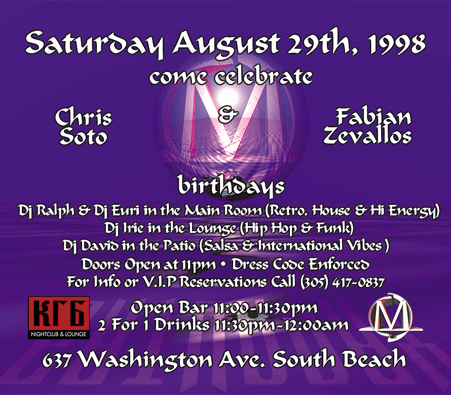 Saturday August 29th at KGB Nightclub