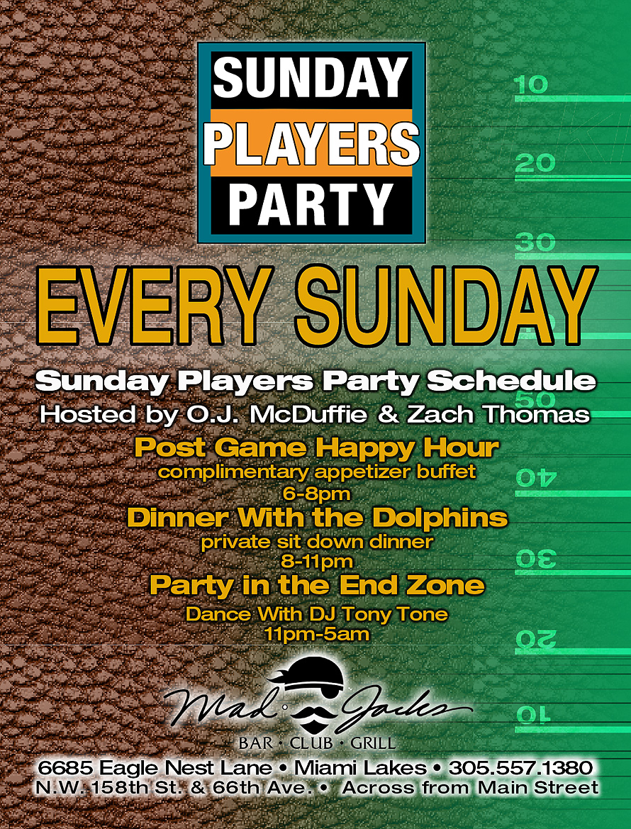 Sundays Players Party at Mad Jacks Bar Club and Grill