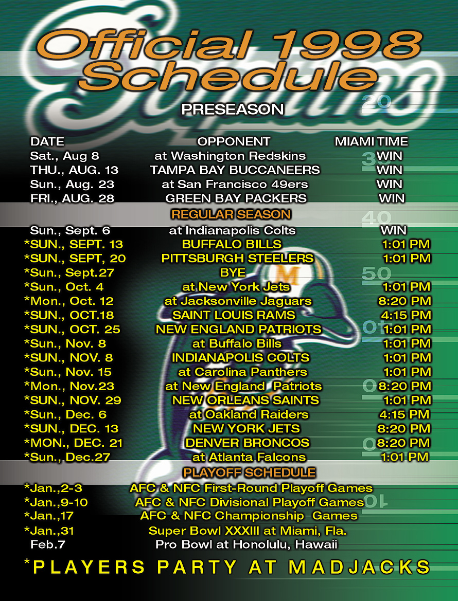 Mad Jacks Bar and Grill Dolphins Schedule