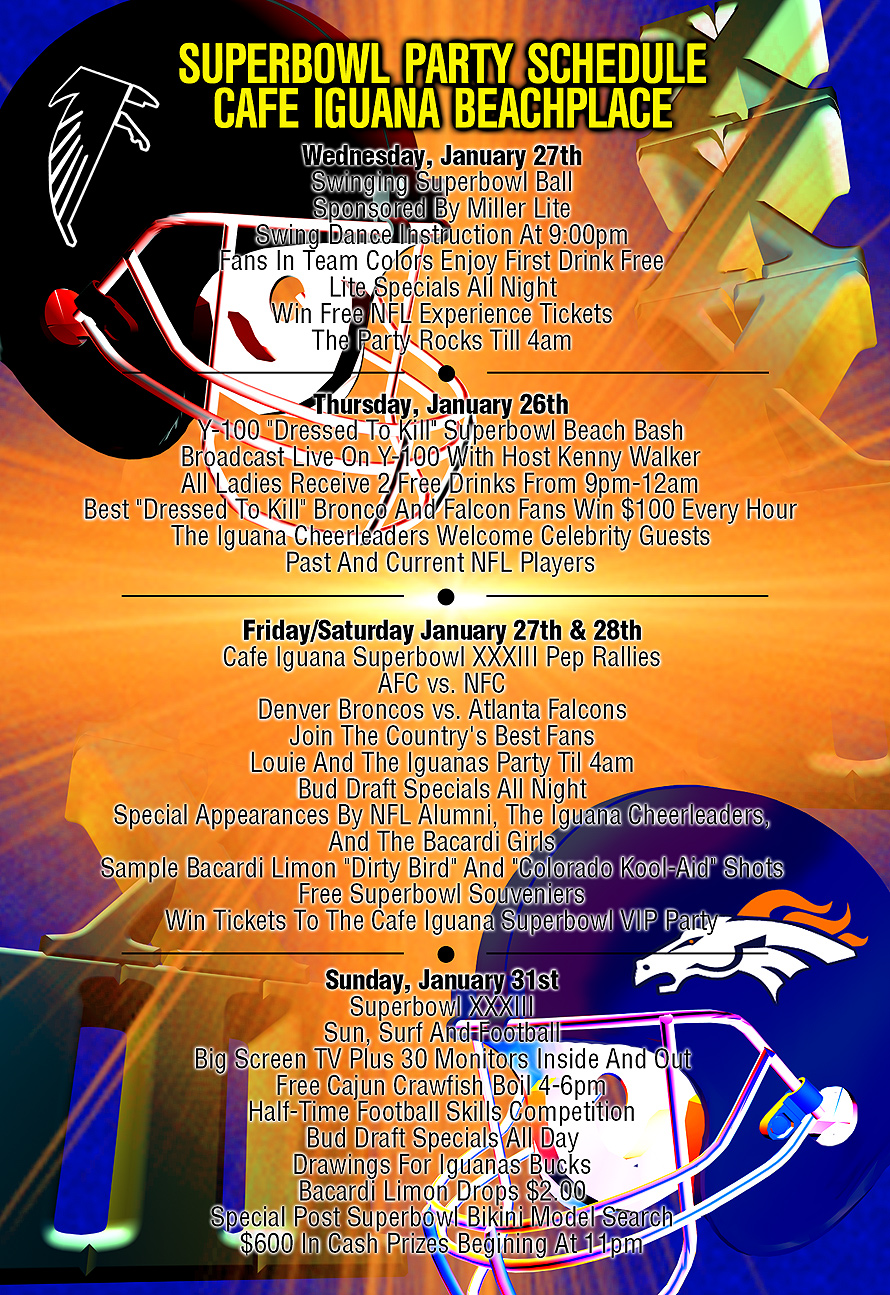 Super Bowl 33 Cafe Iguana Party Schedule