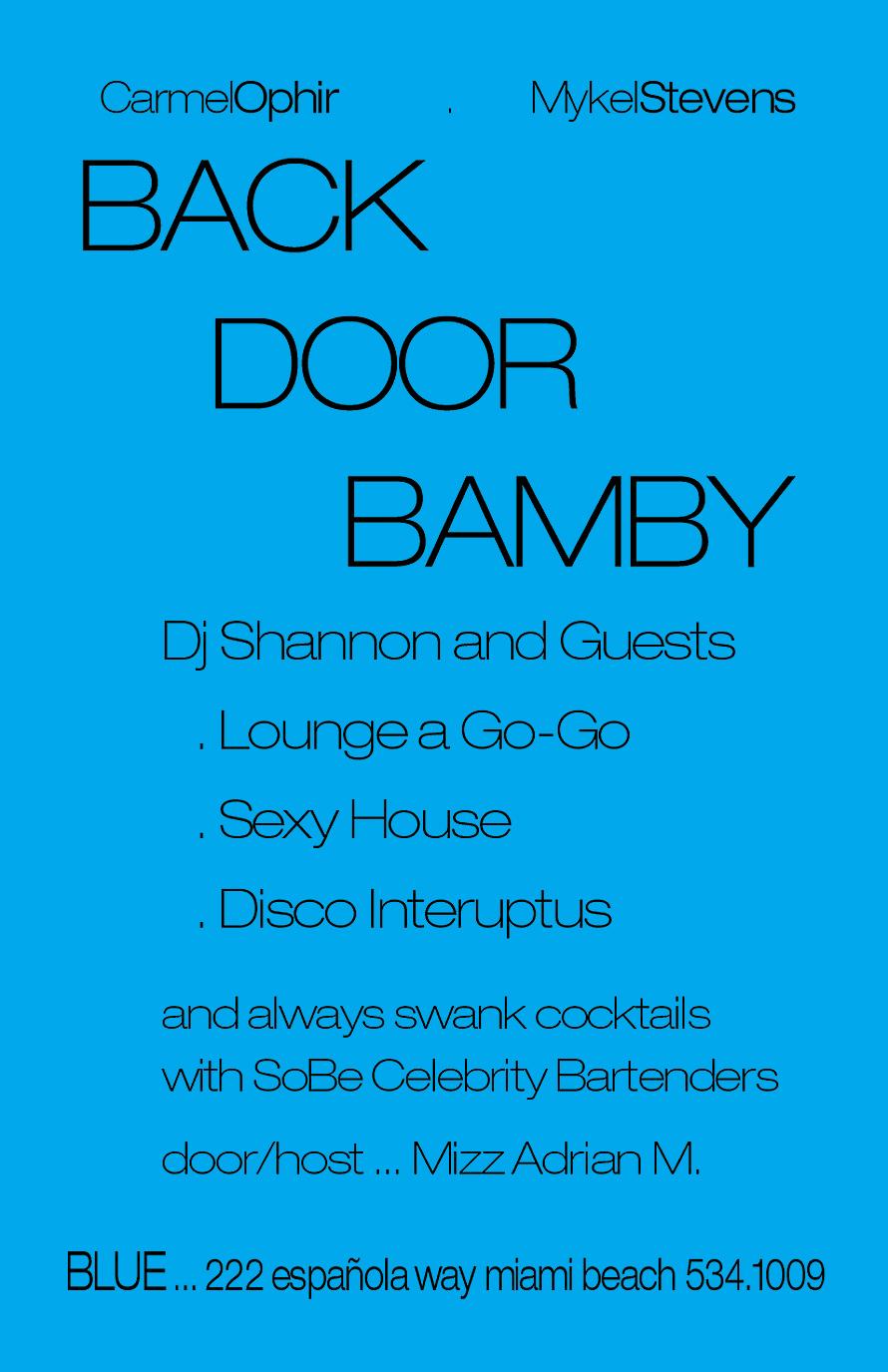 Back Door Bamby Mondays at Blue