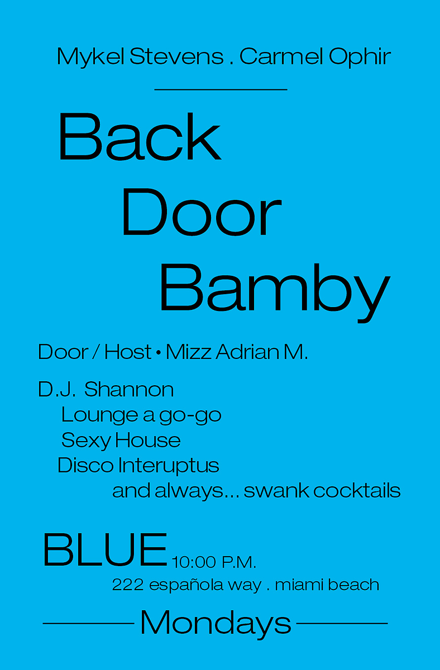 Back Door Bamby Mondays at Blue