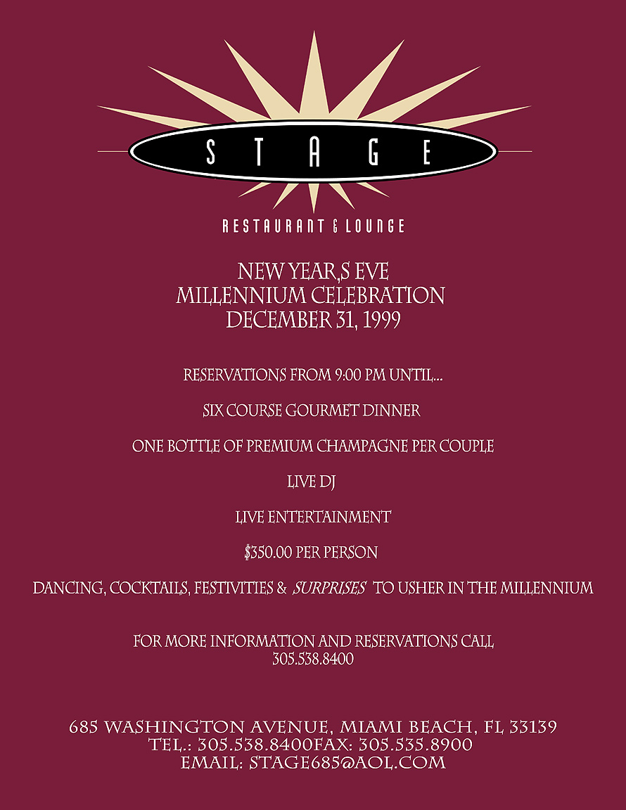 Millenium Celebration at Stage Restaurant and Lounge