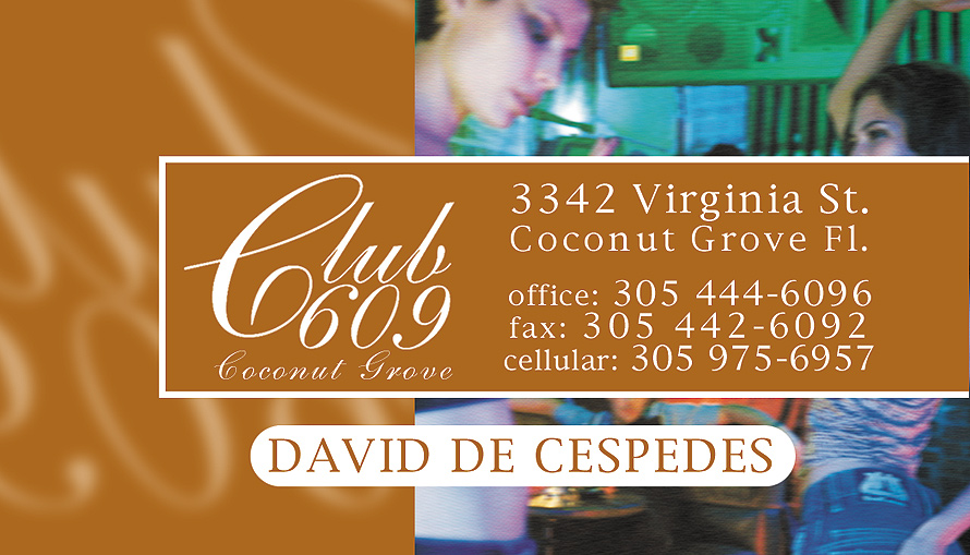Club 609 David De Cespedes Business Card