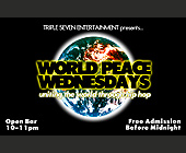 World Peace Wednesdays at Cream - tagged with free admission