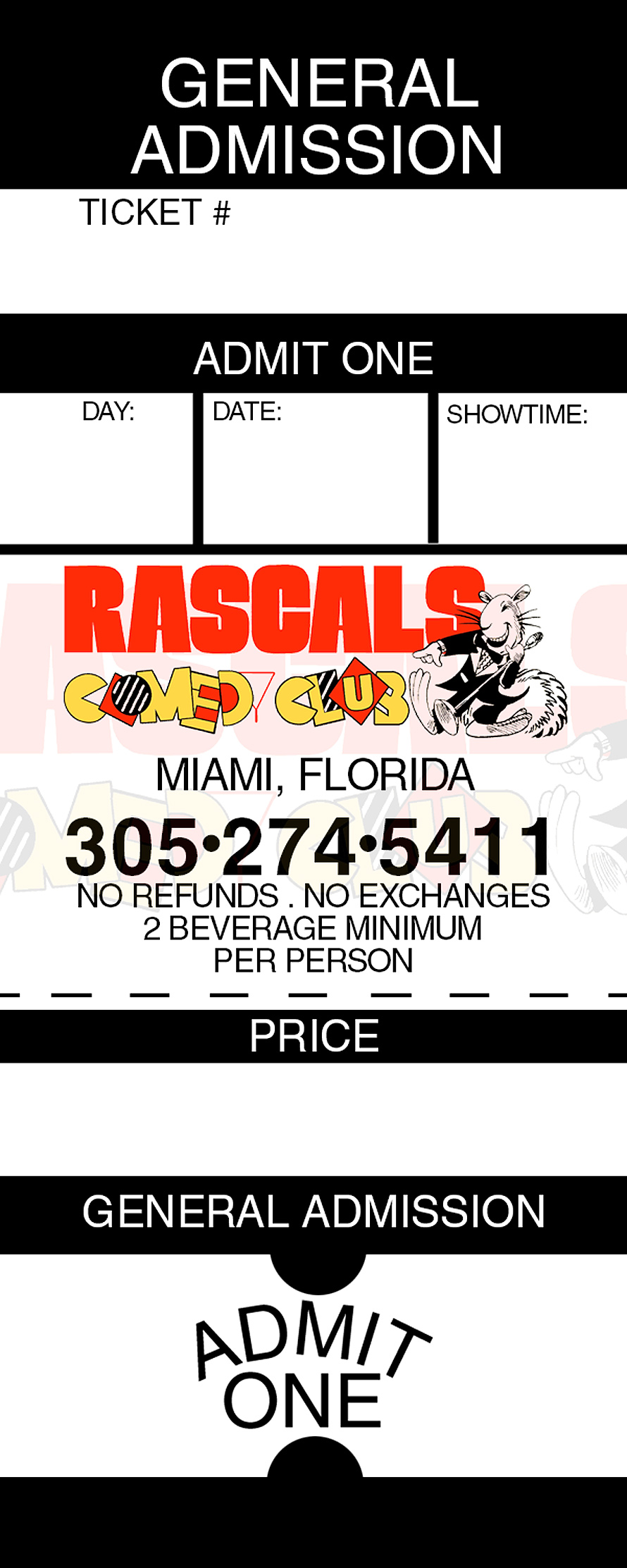Rascals Comedy General Admission Ticket