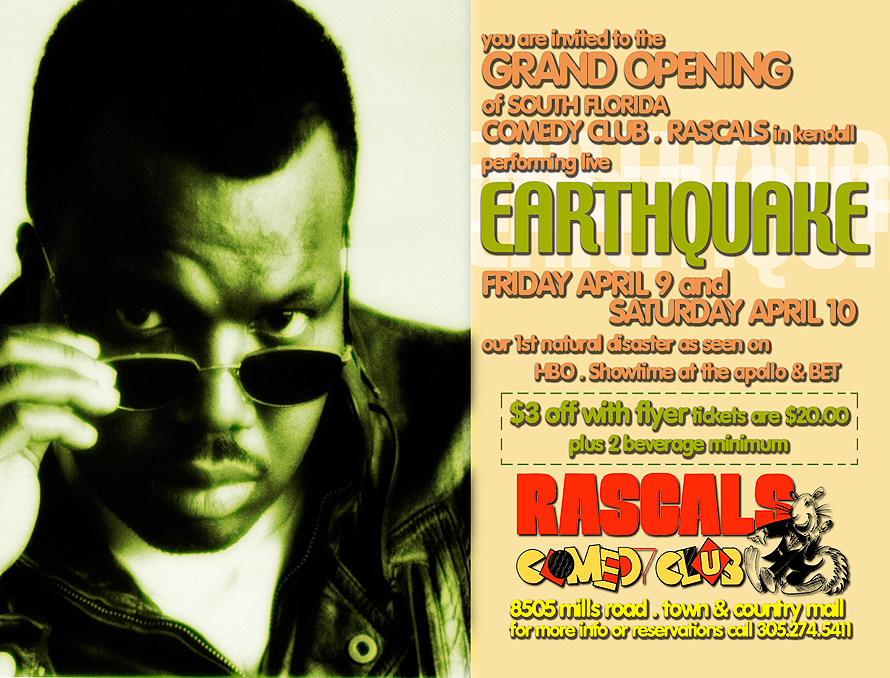 Comedian Earthquake Performing Live at Rascals Comedy Club