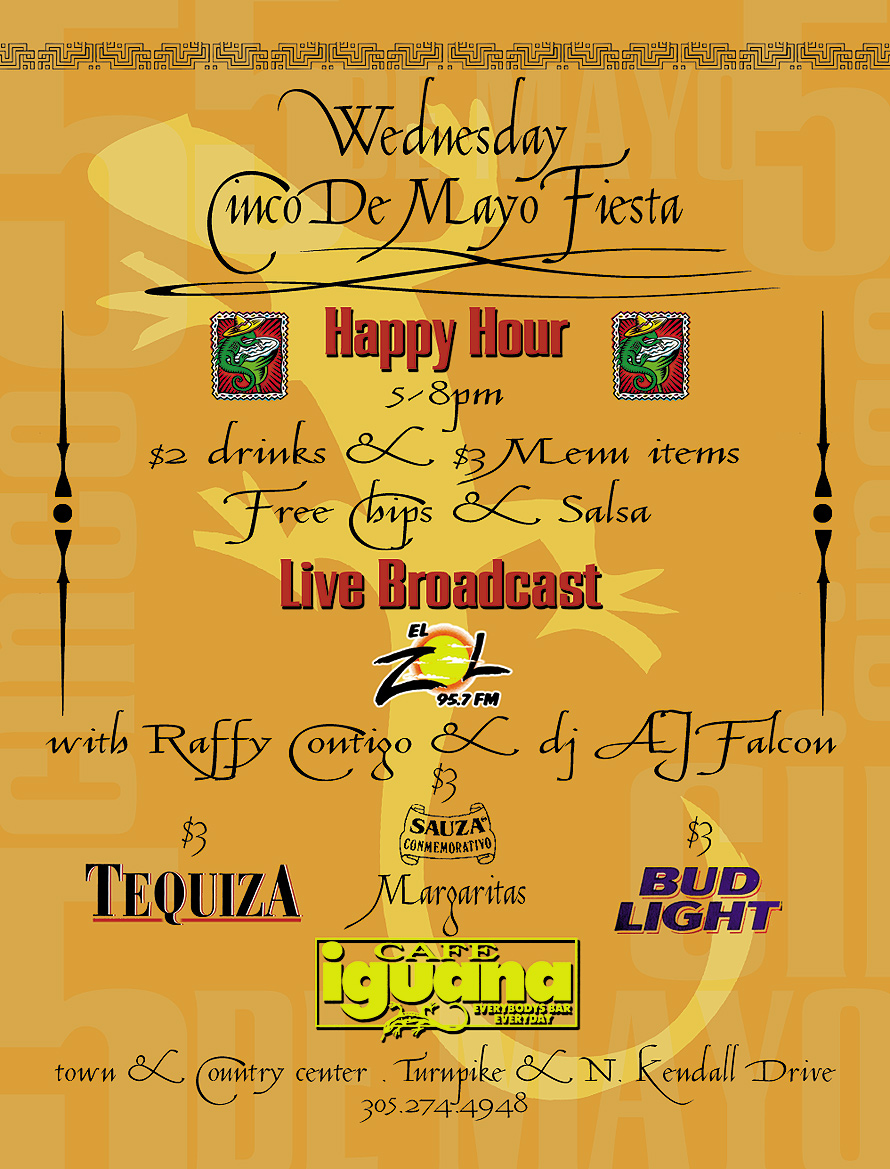 Wednesday Cinco de Mayo at Cafe Iguana Cantina in Miami