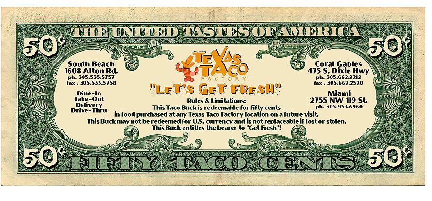 Texas Taco Factory Fifty Taco Cents