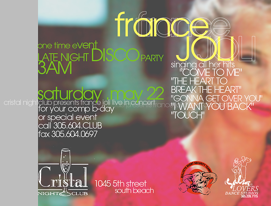 France Joli at Cristal Nightclub
