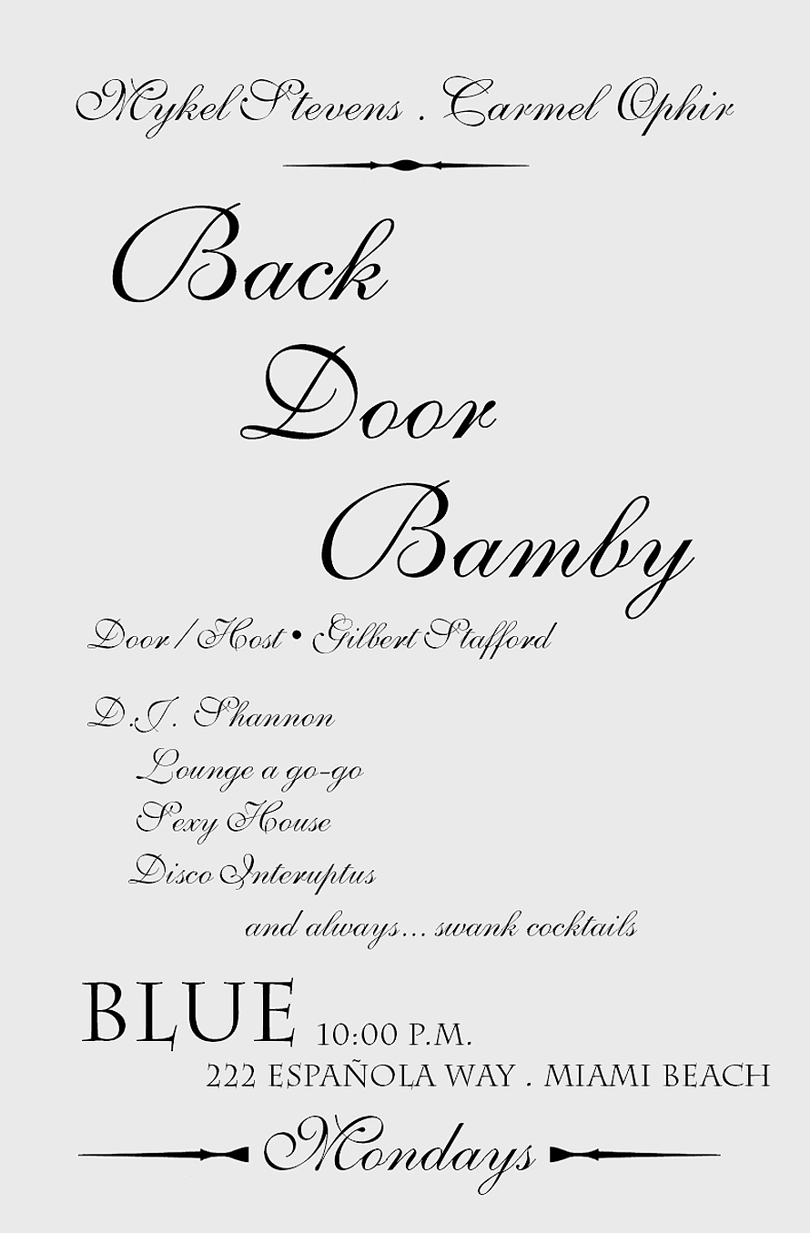 Back Door Bamby at Blue in Miami Beach