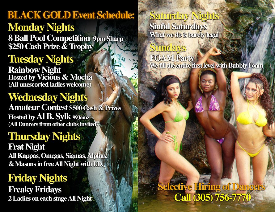 Black Gold Schedule of Events