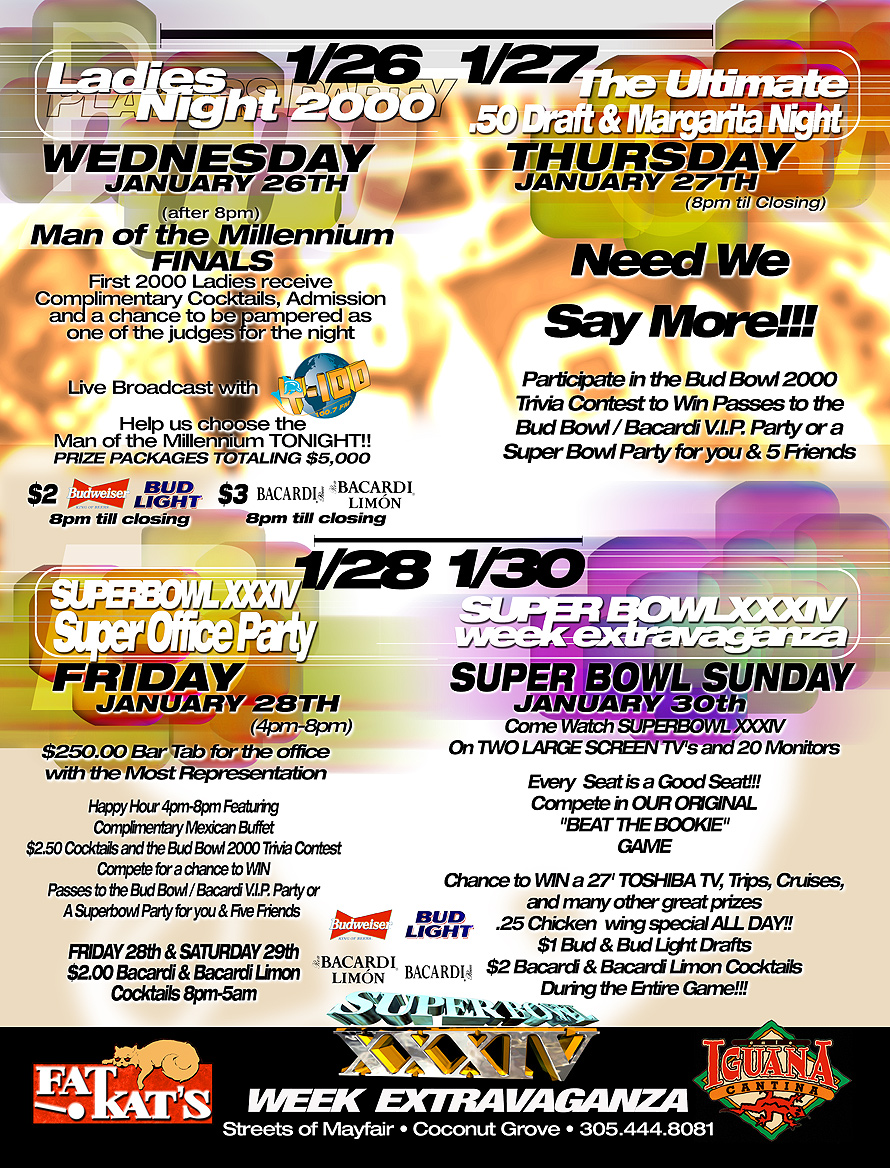 Superbowl Sunday Party at Cafe Iguana