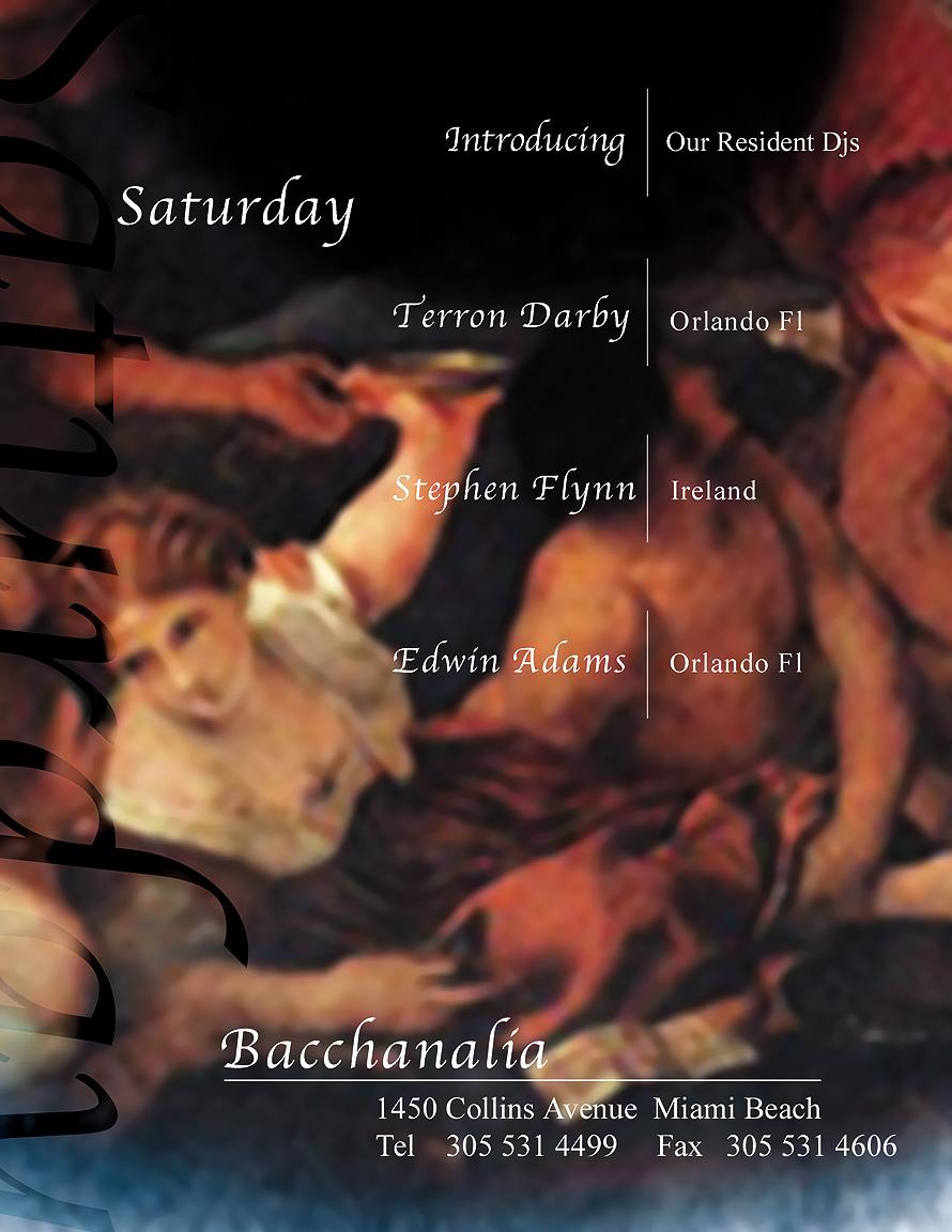 Saturdays at Bacchanalia