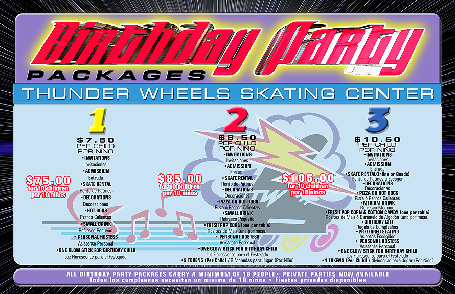 Thunderwheels Birthday Party Packages