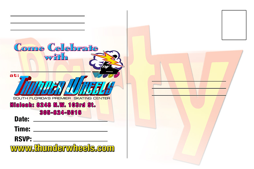 Thunder Wheels Skating Center Postcard