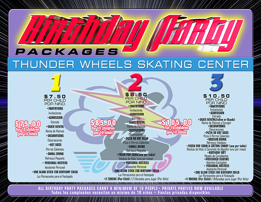 Thunder Wheels Birthday Party Packages