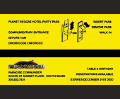 Planet Reggae All Access Hotel Party Pass at Wilderness Grill - Wilderness Grill Graphic Designs