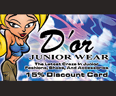 D'or Junior Wear 15 Percent Discount Card - created November 10, 2000