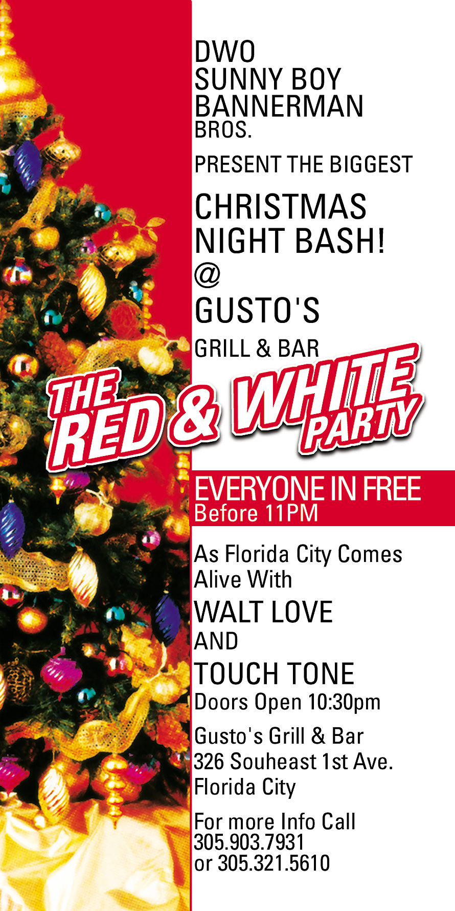 The Red and White Party at Gusto's Grill and Bar