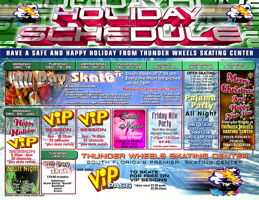 Thunder Wheels Holiday Schedule