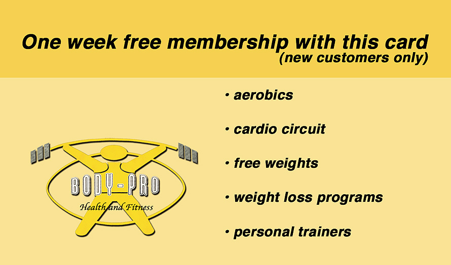 Body Pro Health and Fitness Free Membership Card