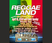 Reggae Land at Tilt Nightclub - Tilt Nightclub Graphic Designs