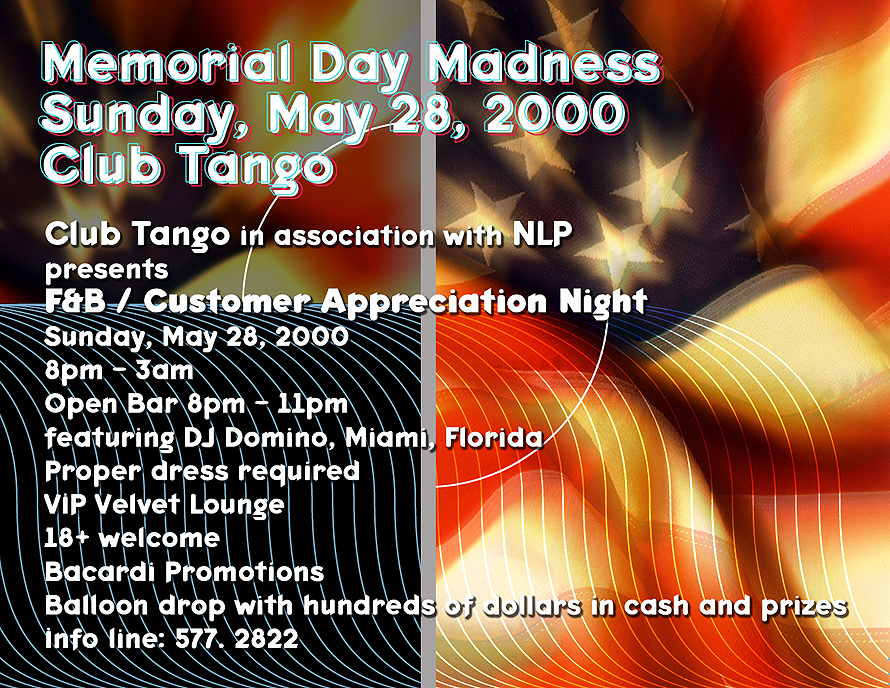 Memorial Day Madness Club Tango