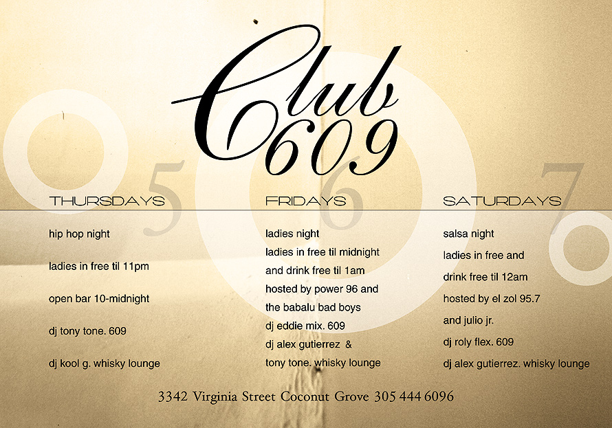 Weekend Schedule at Club 609