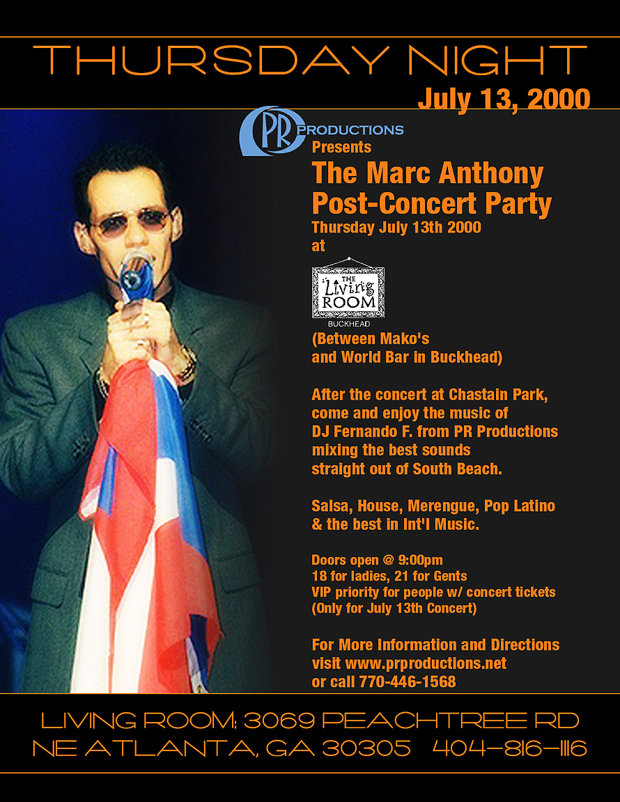 Marc Anthony at The Living Room and Cotton Club