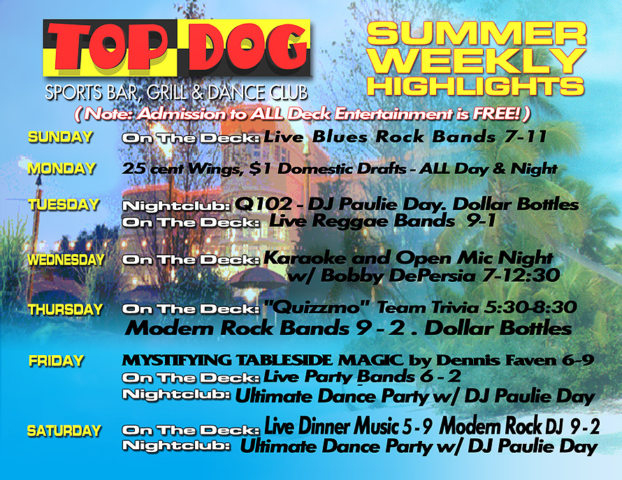 Top Dog Sports Bar Schedule