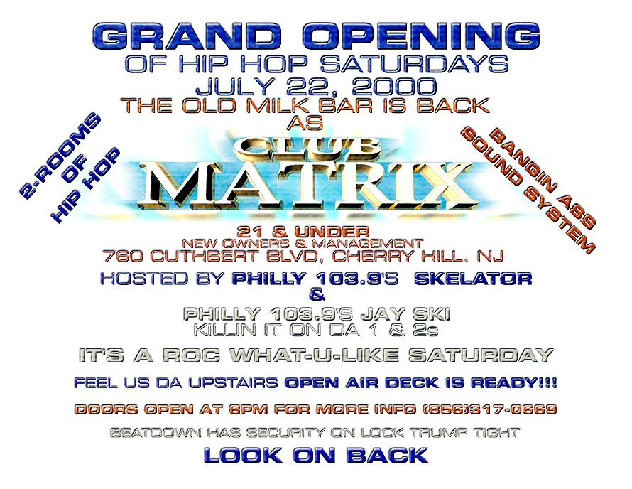 Hip Hop Saturdays at Club Matrix