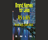 Brand Names for Less Clothing Tag - created July 12, 2000