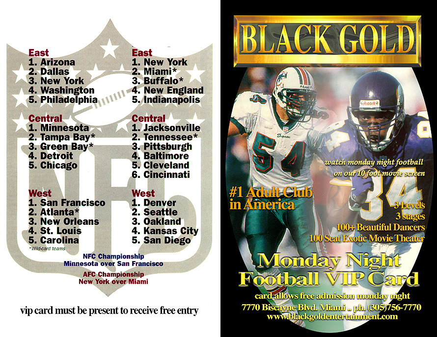 Black Gold Monday Night Football VIP Card