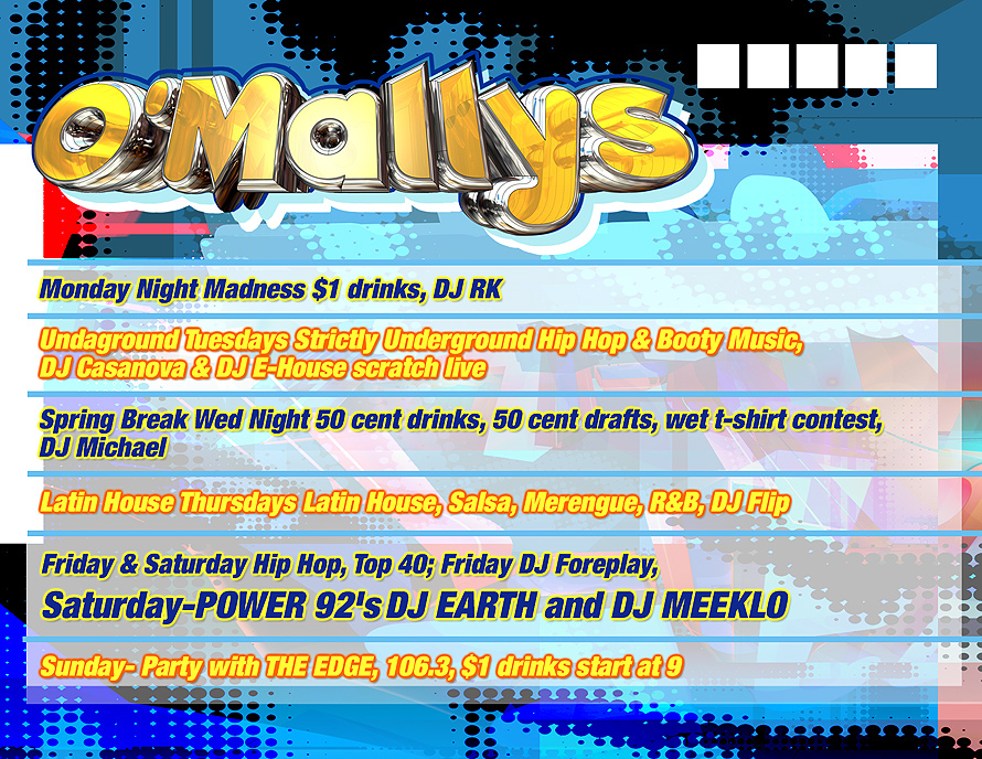 O'Mallys Weekly Schedule