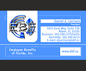 Employee Benefits of Florida, Inc. Business Card - tagged with Information box