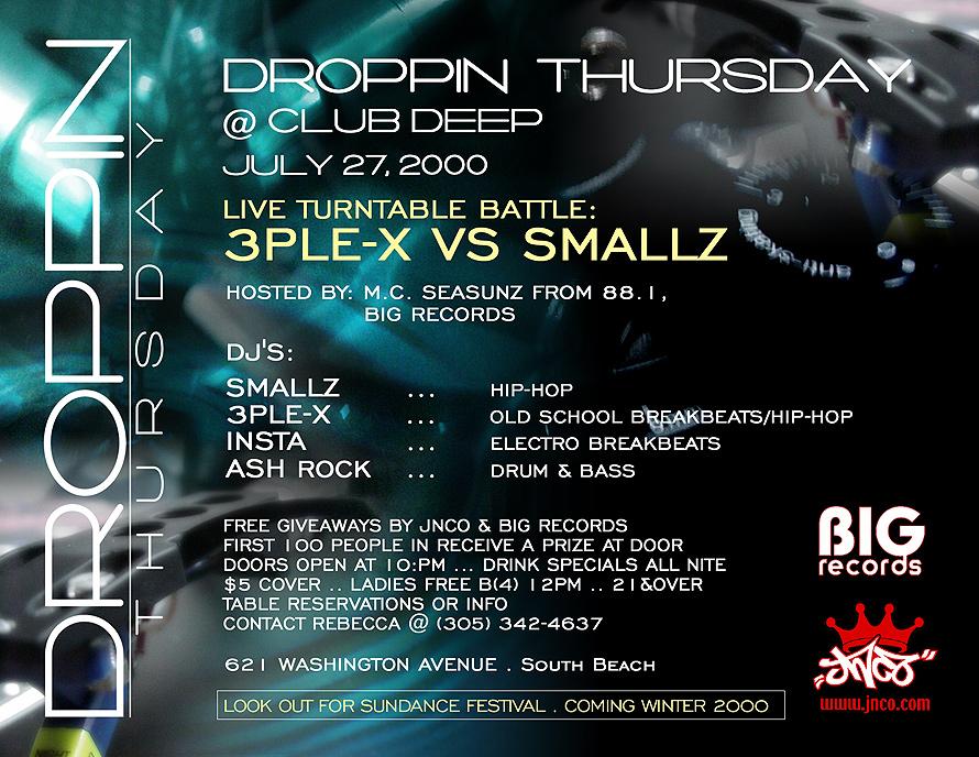 Dropping Thursday at Club Deep