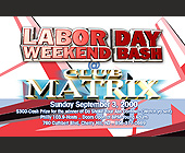 Labor Day Weekend Bash at Club Matrix - tagged with nj