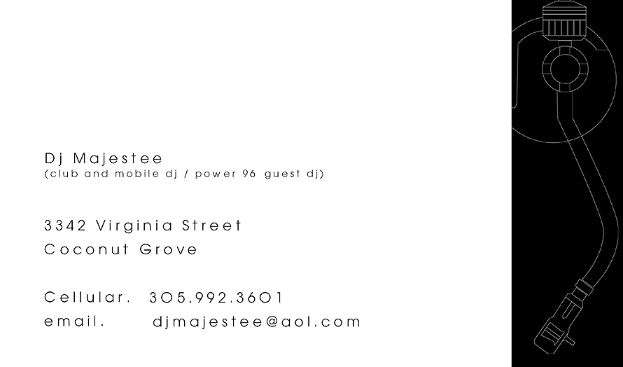 Pussy Gallore DJ Majestee Business Card