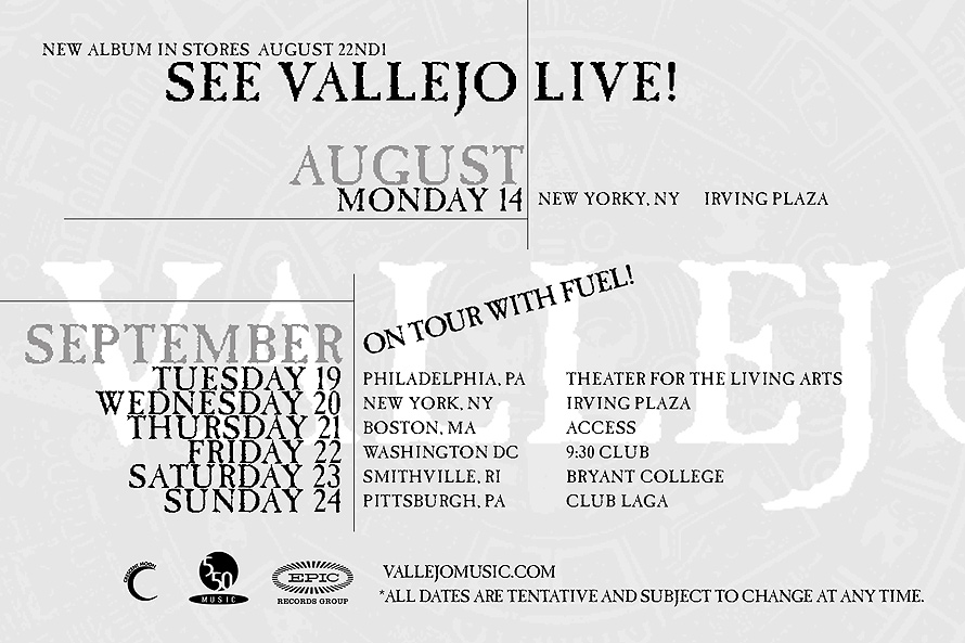 Vallejo Into the New Tour Schedule