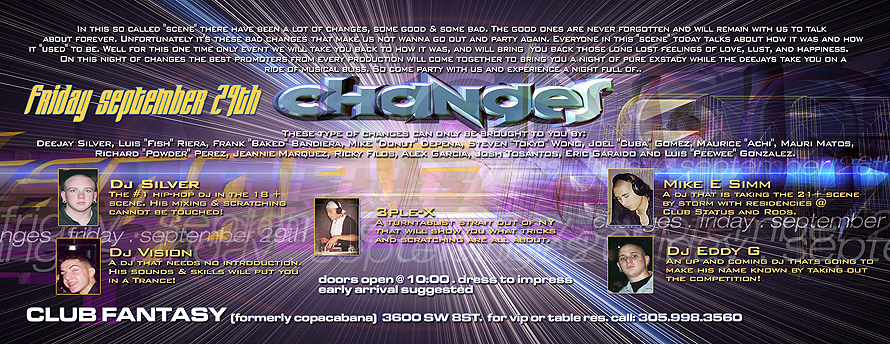 Friday September Changes Event at Club Fantasy