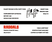 Planet Reggae Complimentary Pass at Rascals - created September 2000