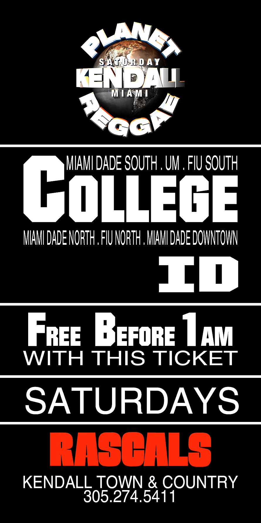 Planet Reggae and Diamonds and Pearls College ID Ticket