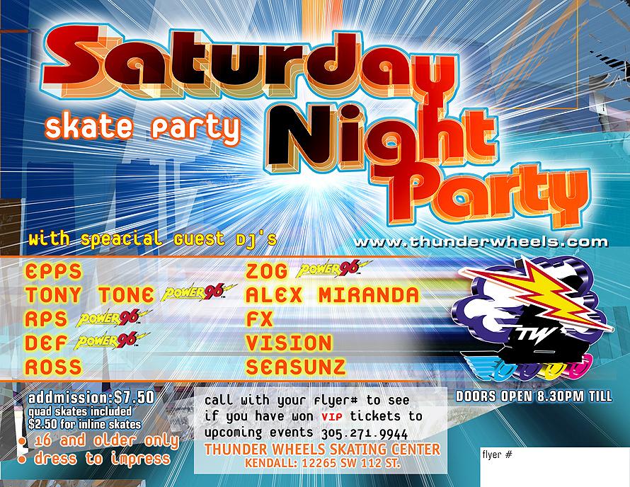 Thunder Wheels Saturday Night Skate Party