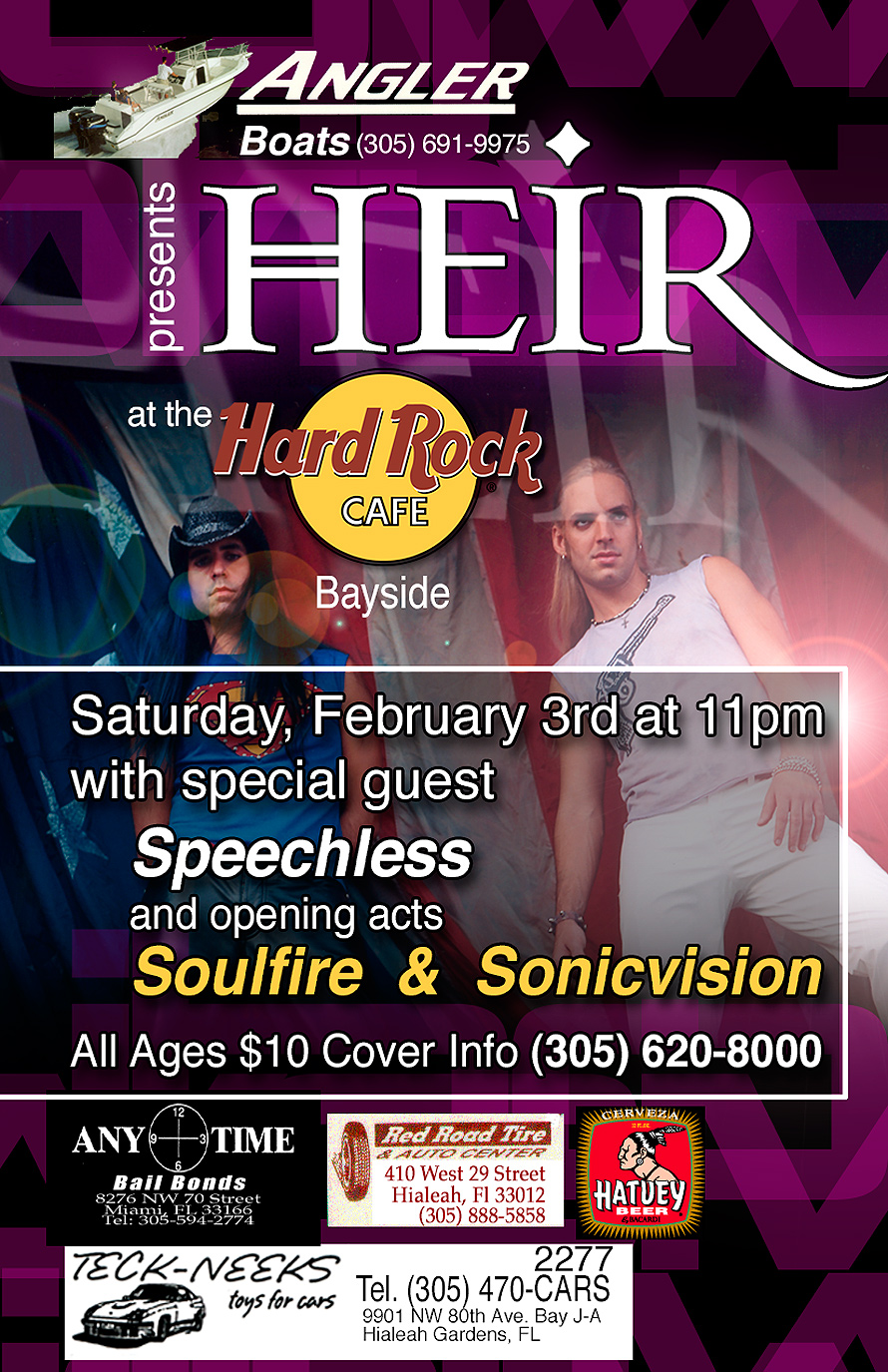 Angler Boats Presents Heir at The Hard Rock Cafe