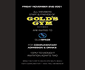 Club Space Gold's Gym Complimentary Admission - Club Space Graphic Designs