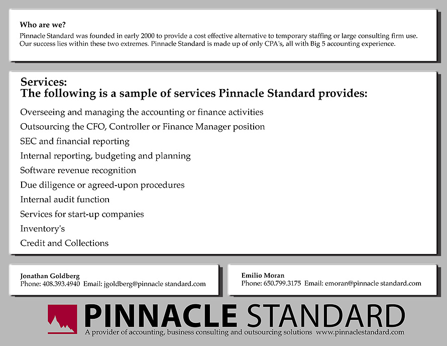 Pinnacle Standard Accounting Business Consulting and Outsourcing Solutions