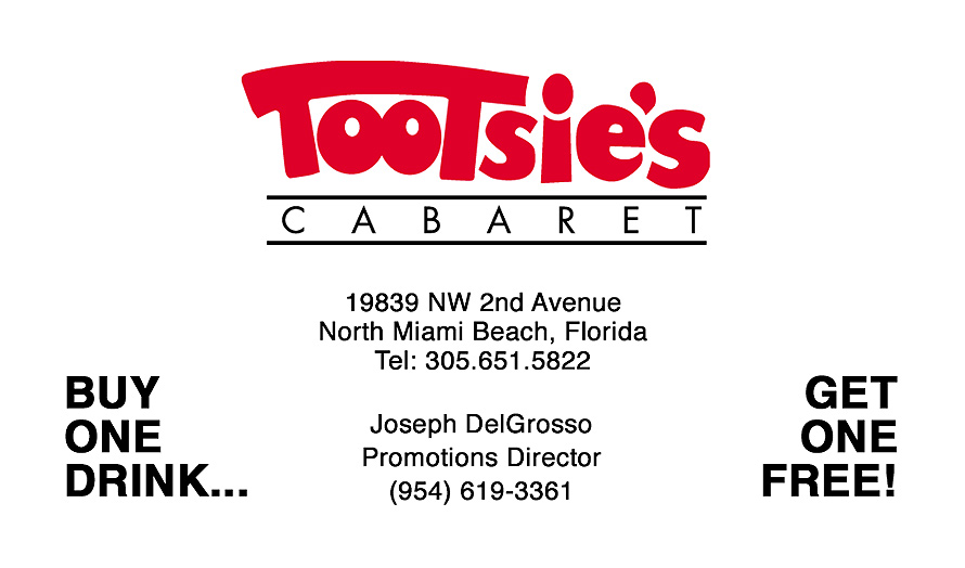 Tootsie's Cabaret Buy One Get One Free Drink Card